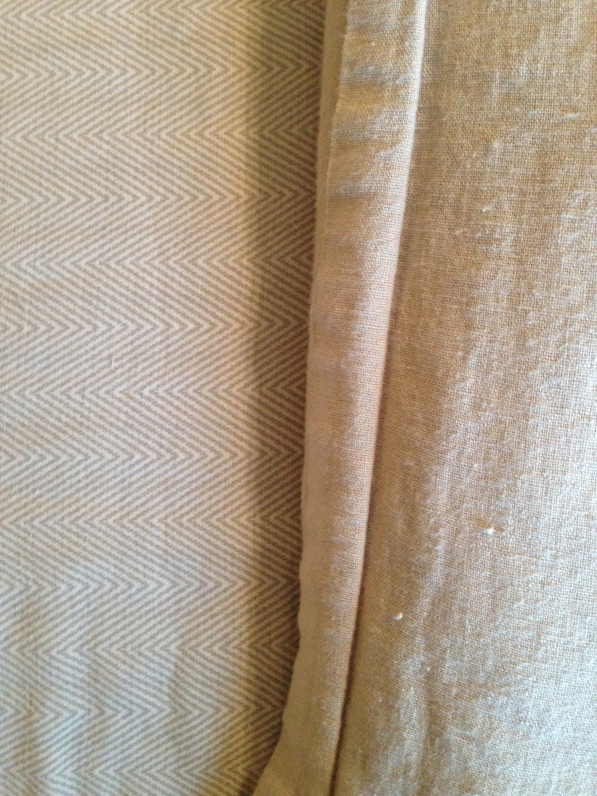 tone on tone herringbone sheets with linen duvet