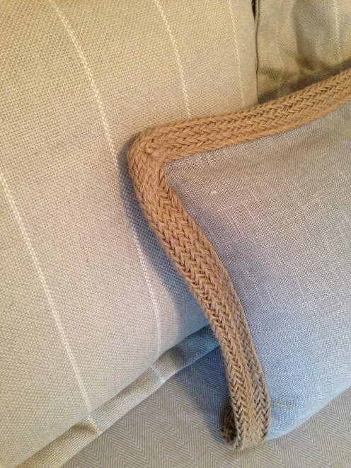 linen and jute, with basketweave cotton